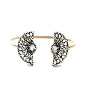 Opalescent Crystal Floral Ornate Vtg Bracelet